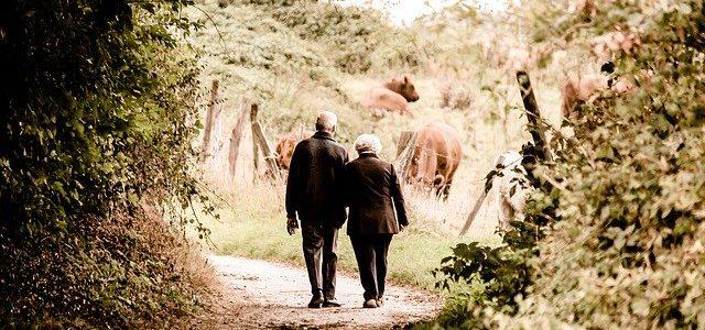 Seniorenpaar spaziert, Natur